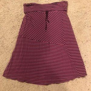 Athleta stripe faux-wrap skirt